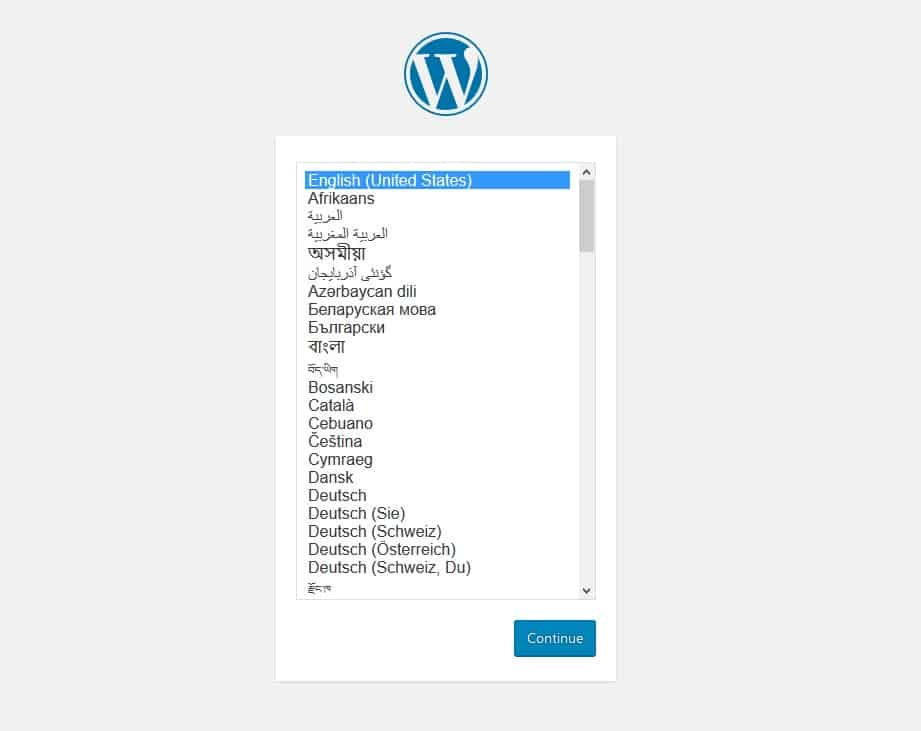Select Language while Installing WordPress on Localhost