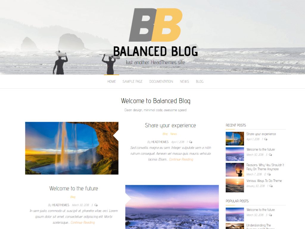 Balanced Blog WordPress blog theme
