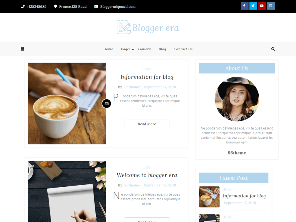 Blogger Era WordPress blog theme