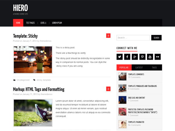 Hiero WordPress blog theme