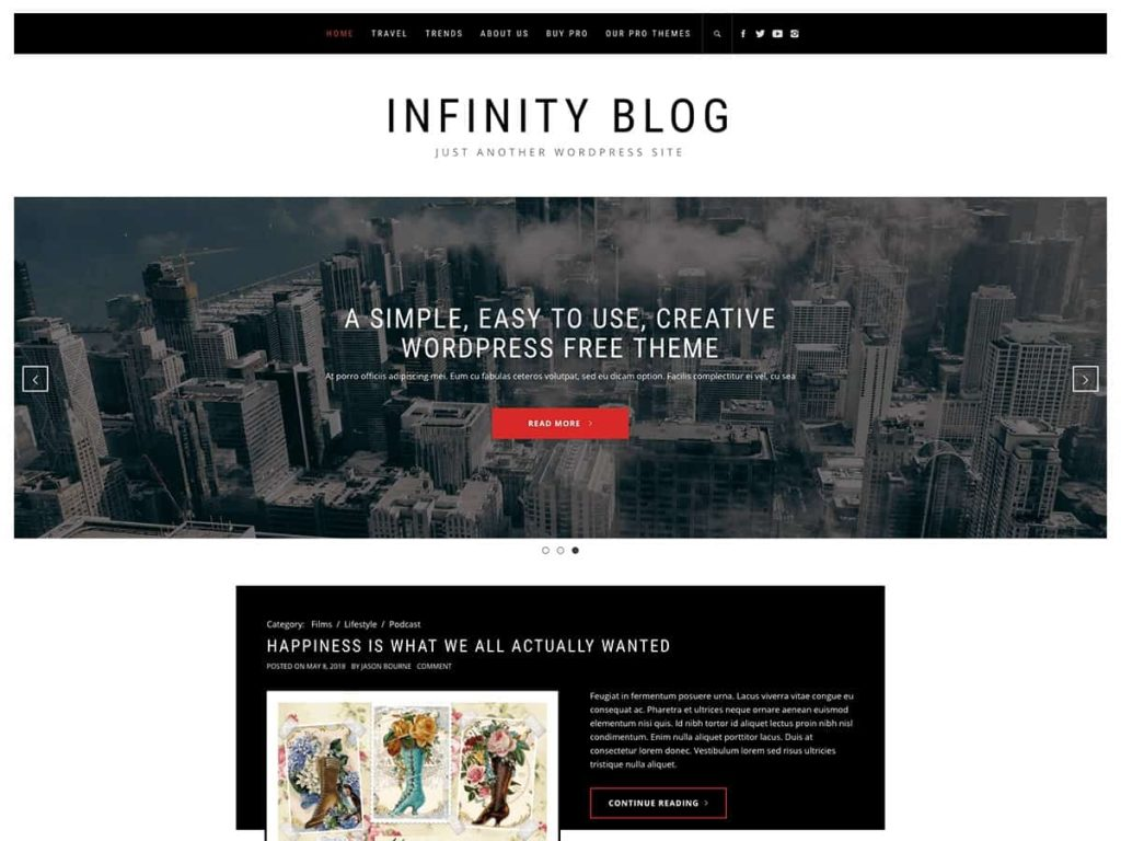 Infinity Blog WordPress blog theme