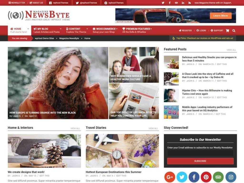 Magazine News Byte WordPress blog theme