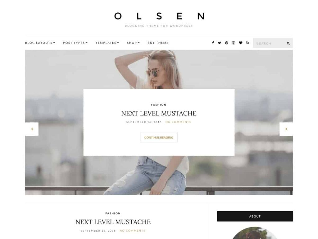 Olsen light WordPress blog theme