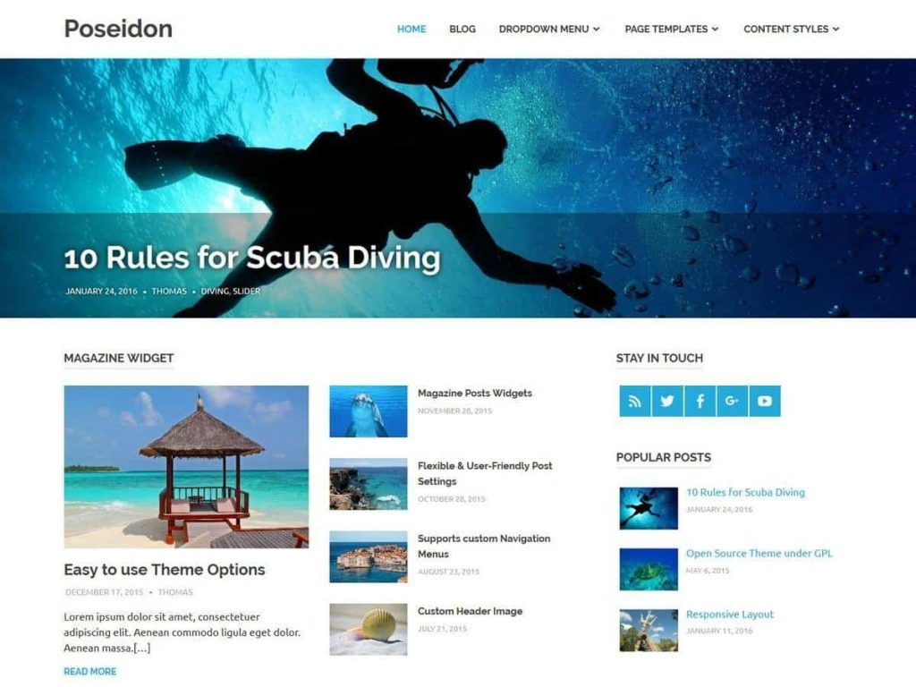 Poseidon WordPress blog theme