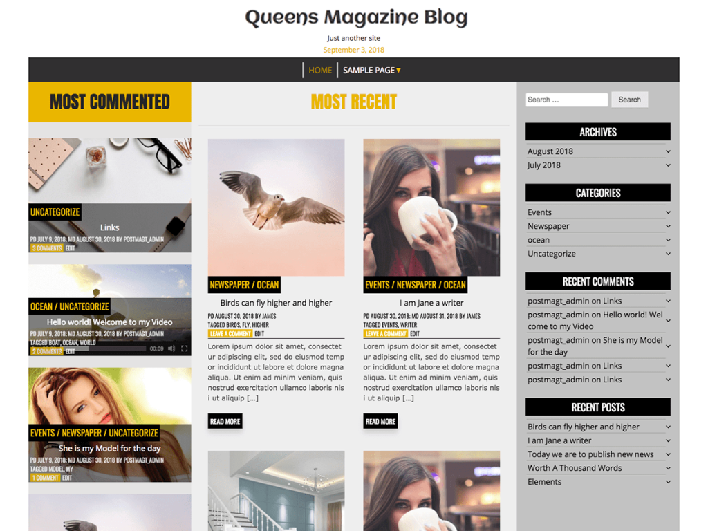 Queens Magazine Blog WordPress blog theme