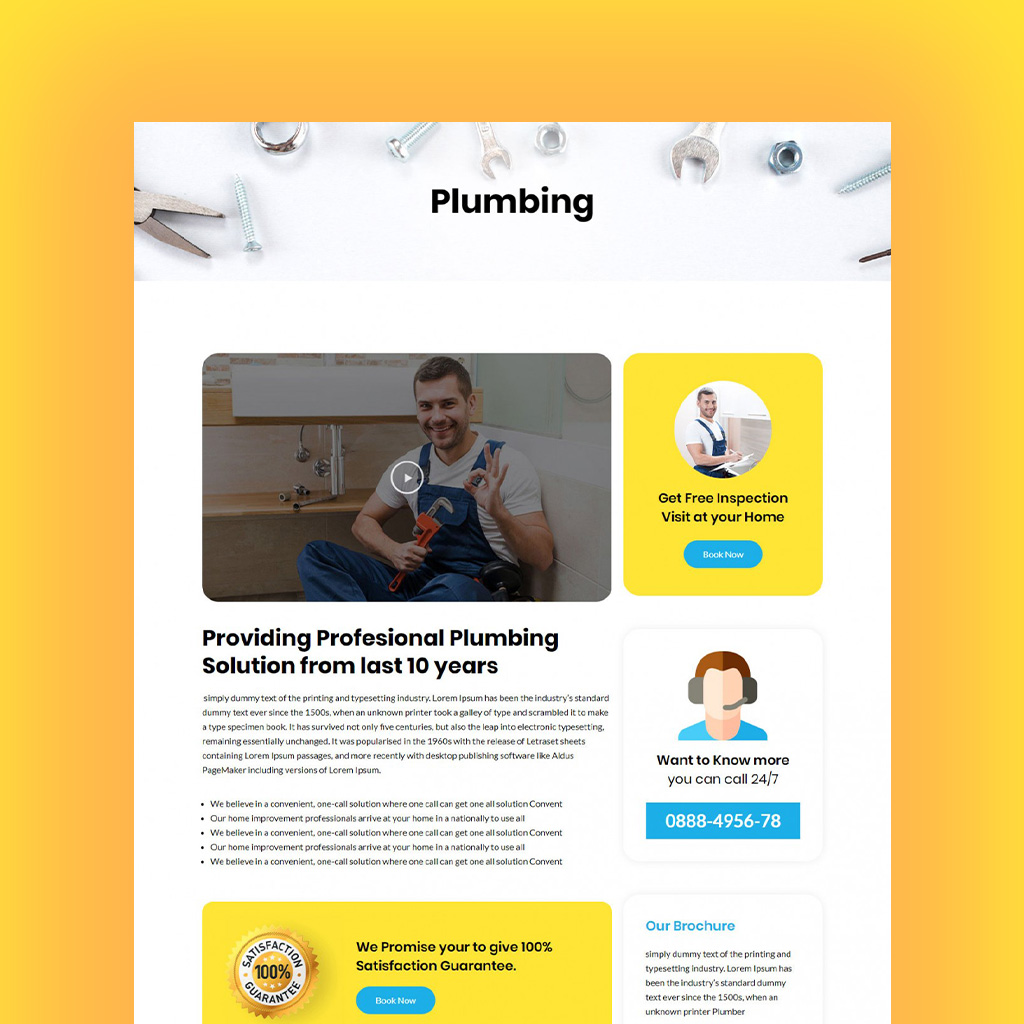 Elementor template for plumber