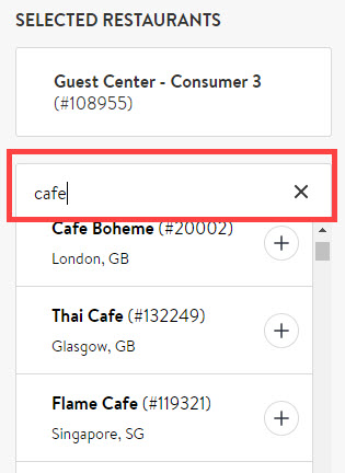 restaurant search bar