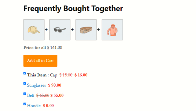 Frequently bought together section